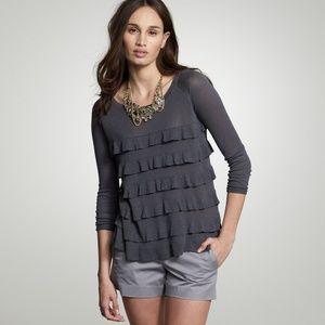 J. Crew Sweater S Silk Linen Tier Ruffle Pullover